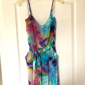 Watercolor Floral Print Bisou Bisou Maxi Dress